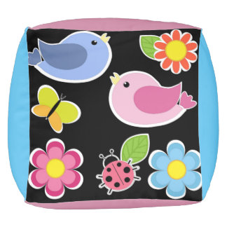 BIRDS AND FLOWERS PATTERN POUF