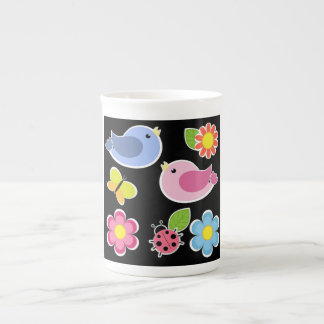 BIRDS AND FLOWERS PATTERN TEA CUP