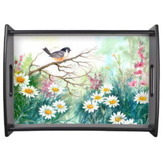 Birds and Flowers Serving Tray