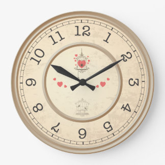 Birds and Hearts In A Cage Wall Clocks