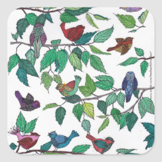 Birds and Leaves Square Sticker