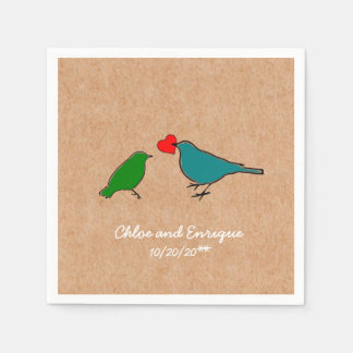 Birds And Love Heart Cute Personalized Wedding Paper Napkin