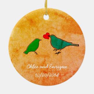 Birds and Love Heart Watercolor Wedding Ceramic Ornament