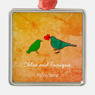 Birds and Love Heart Watercolor Wedding Metal Ornament