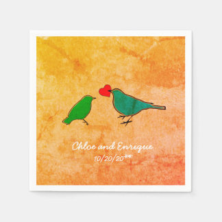 Birds and Love Heart Watercolor Wedding Paper Napkin