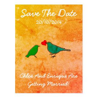 Birds and Love Heart Watercolor Wedding Postcard
