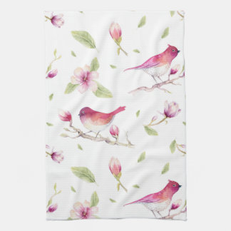 Birds And Magnolia Trees Kitchen Towel