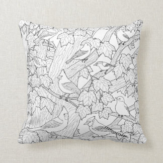 Birds and Maple Tree U-Paint Fabric Throw Pillow