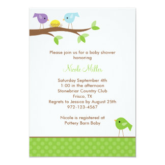 Birds and Nest Baby Shower Invitation