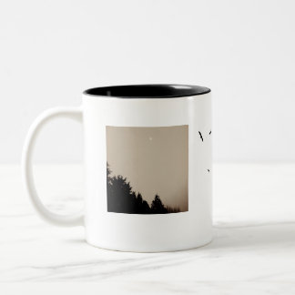 """Birds and Nest"" Coffee Mug in Black and White."