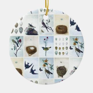 Birds and Nests Ceramic Ornament