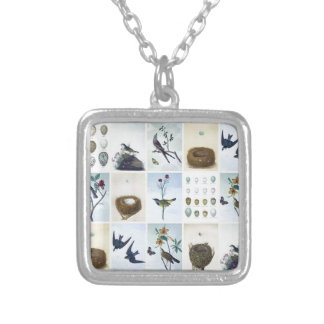 Birds and Nests Silver Plated Necklace