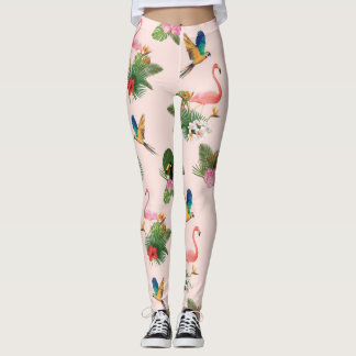 Birds and Palm Tree Leaves Pattern Leggings