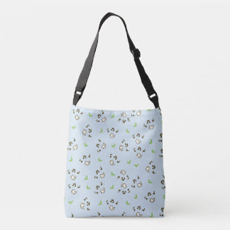 Birds and song pattern Blue Crossbody Bag