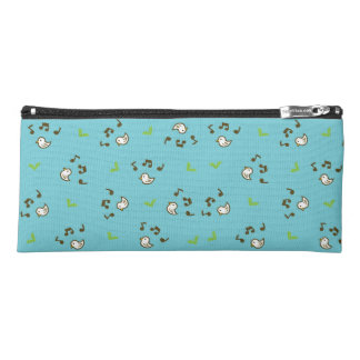 Birds and song pattern Blue Pencil Case