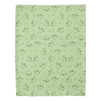 Birds and song pattern Green Duvet Cover