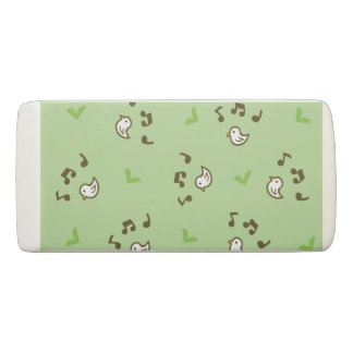 Birds and song pattern Green Eraser