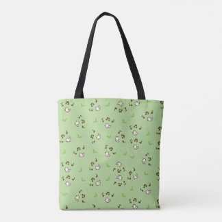Birds and song pattern Green Tote Bag
