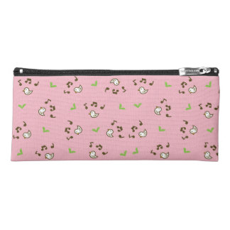 Birds and song pattern pink pencil case