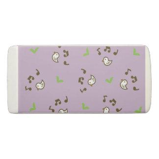Birds and song pattern purple eraser