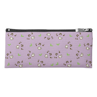 Birds and song pattern purple pencil case