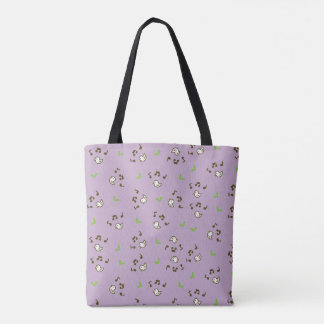Birds and song pattern Purple Tote Bag