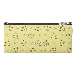 Birds and song pattern Yellow Pencil Case