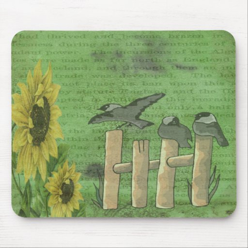Birds and Sunflowers Mouse Pads