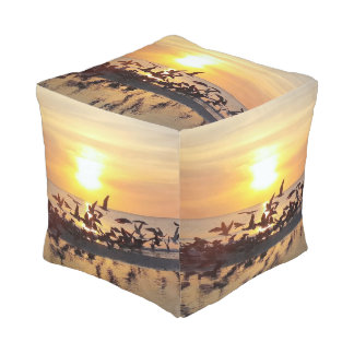 Birds at Sunset on the Beach Nature Print Stunning Pouf