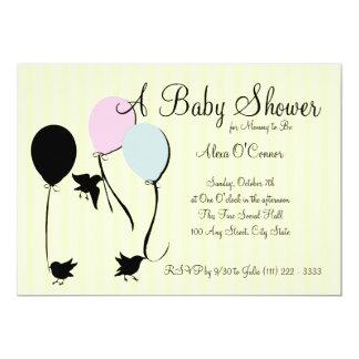"Birds Balloons and Baby 5"" X 7"" Invitation Card"