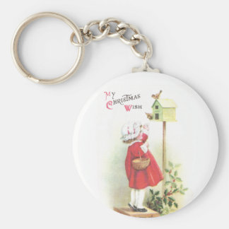 Birds, Birdhouse, Holly and Girl Vintage Christmas Basic Round Button Keychain
