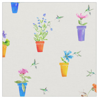 Birds, Blossoms and Flowerpots Fabric