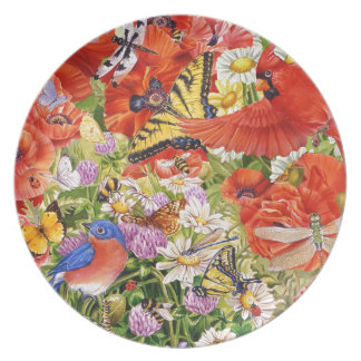 Birds, Butterflies and Bees Melamine Plate