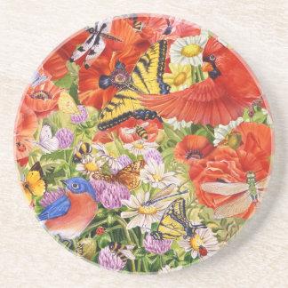 Birds, Butterflies and Bees Sandstone Coaster