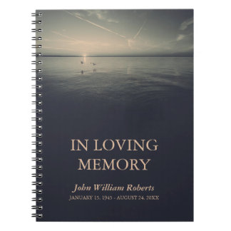 Birds by Ocean Sunrise In Loving Memory Guestbook Notebooks