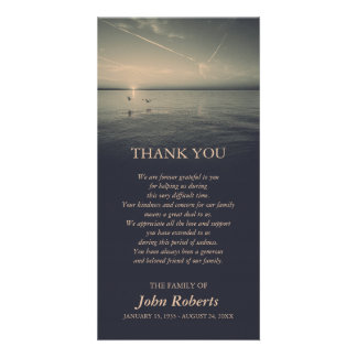 Birds by Ocean Sunrise Memorial Service Thank You Picture Card
