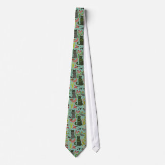 Birds Cats And Flowers Retro Pattern Tie