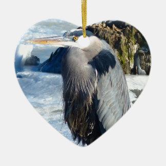birds ceramic heart ornament