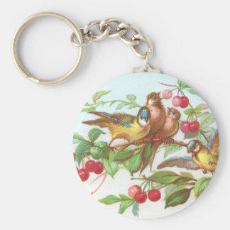 Birds & Cherries Victorian Trade Card Keychain