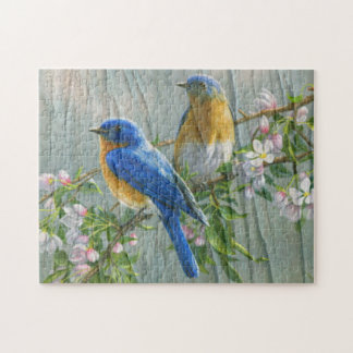 Birds Cherry Blossom Wood Pattern Watercolor Art Jigsaw Puzzle