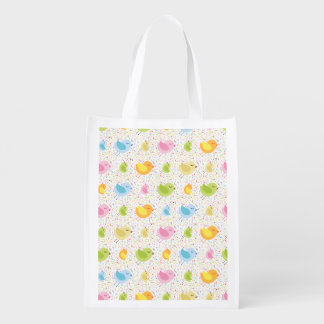 Birds Chirping with Musical Pattern Grocery Bag