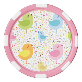 Birds Chirping with Musical Pattern Poker Chips Set