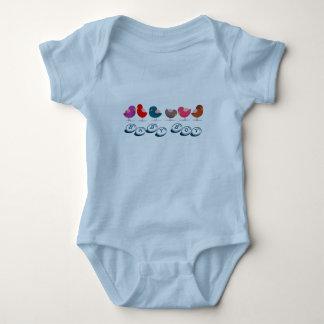 Birds Cute Cartoon Colorful Bright Baby Boy Blue Baby Bodysuit
