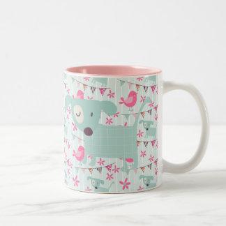 Birds, Dogs, Banners, Flowers Two-Tone Coffee Mug