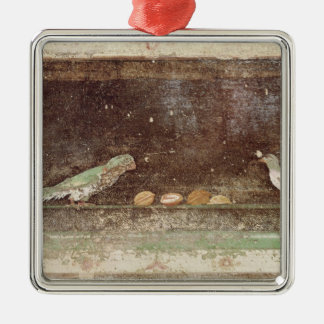 Birds eating nuts Silver-Colored square ornament