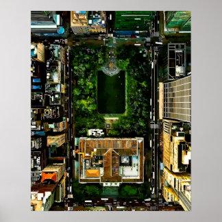 Birds Eye View Bryant Park Manhattan NYC Poster