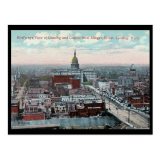 Bird's Eye View, Lansing, MI c1915 Vintage Postcard