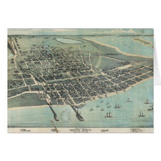 Bird's Eye View Map of Corpus Christi Texas 1887 Card
