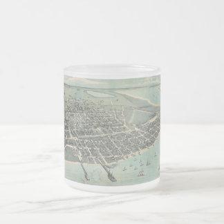 Bird's Eye View Map of Corpus Christi Texas 1887 Frosted Glass Coffee Mug