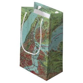Birds Eye View Map Of New York And Vicinity Small Gift Bag